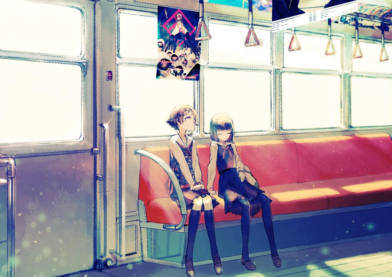 2girls asgr original school_uniform skirt train