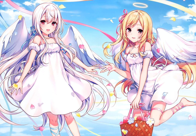 2girls angel blonde_hair brown_eyes clouds dress flowers komeshiro_kasu long_hair original petals red_eyes scan white_hair