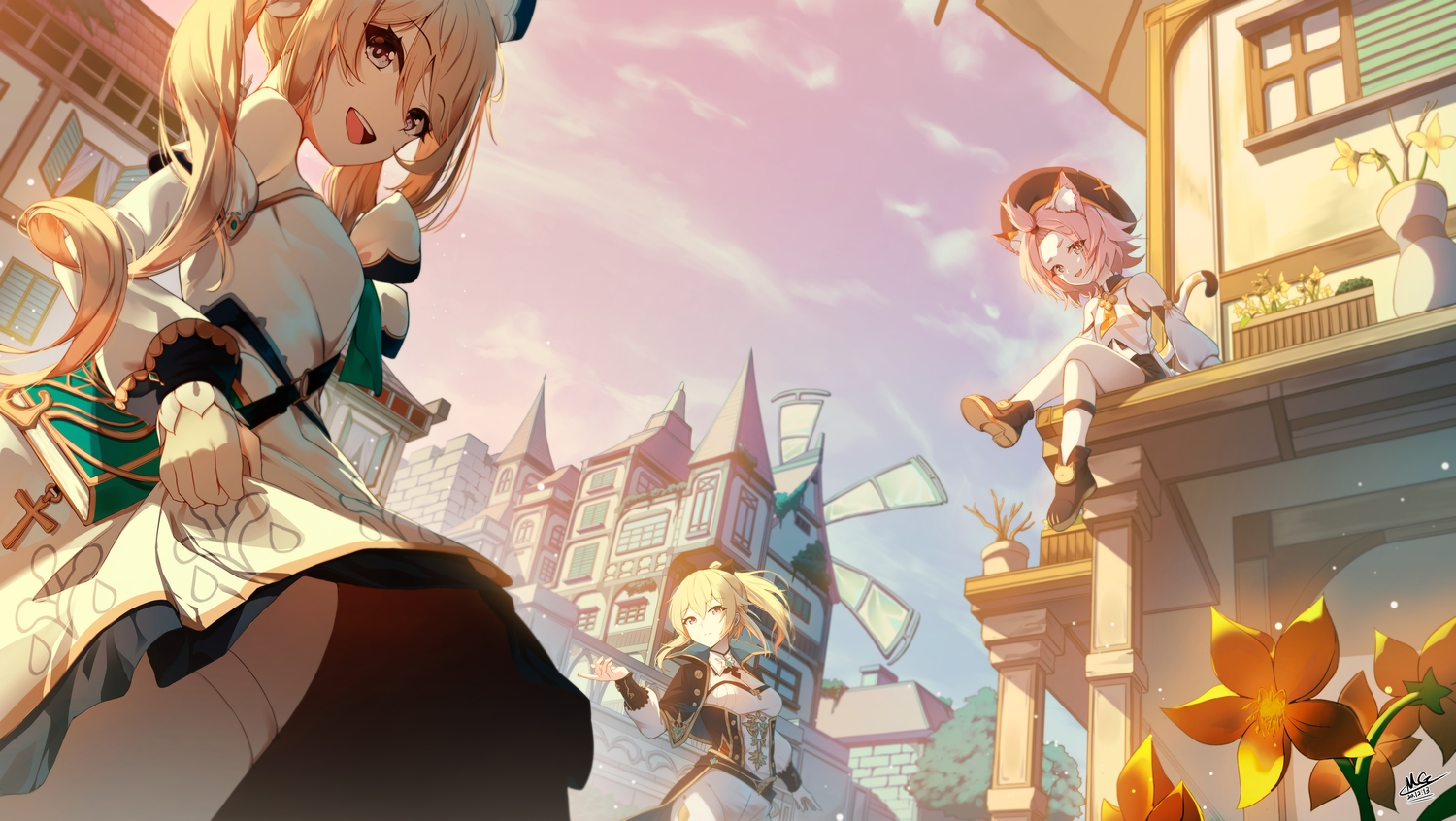 animal_ears barbara_(genshin_impact) blonde_hair building catgirl cat_smile city clouds diona_(genshin_impact) flowers genshin_impact jean_gunnhildr long_hair magica ponytail signed sky tail twintails windmill