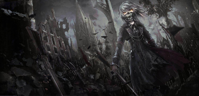 apple228 building choker gothic gun mask necklace original ruins weapon yellow_eyes