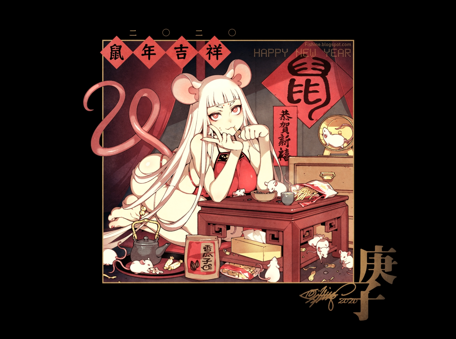 animal animal_ears barefoot bell black breasts candy cat_smile drink fishine food long_hair mouse mousegirl original red_eyes signed tail watermark white_hair