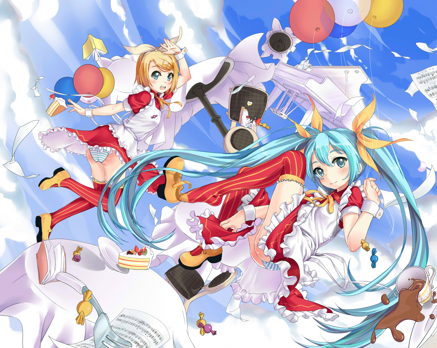 cake codec007 hatsune_miku kagamine_rin panties striped_panties thighhighs underwear vocaloid