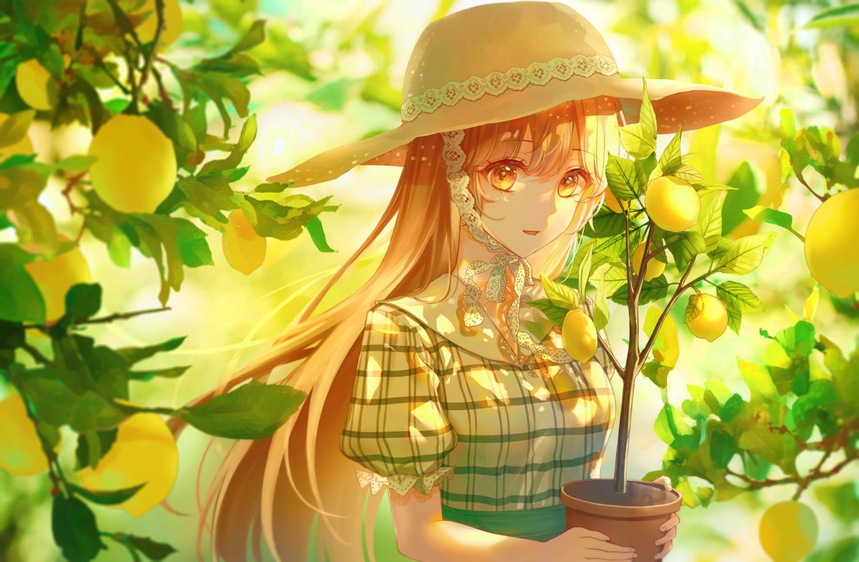 blonde_hair close food fruit hat leaves lium long_hair orange_eyes original tree
