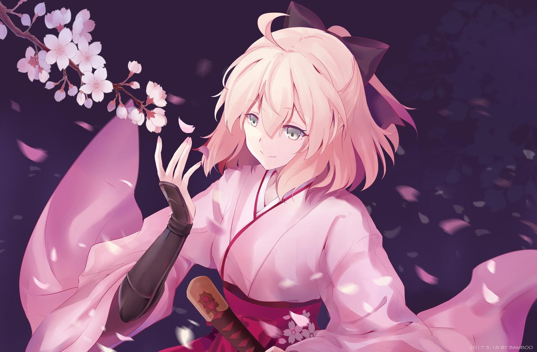 bamboo_(akimotoaki) bow cherry_blossoms fate/grand_order fate_(series) flowers katana okita_souji_(fate) petals short_hair sword weapon