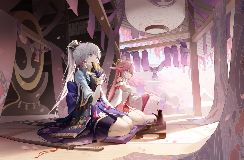 2girls blue_eyes cherry_blossoms drink fan flowers genshin_impact gray_hair kamisato_ayaka long_hair pink_hair ponytail purple_eyes river_(river_ga) sword weapon yae_miko
