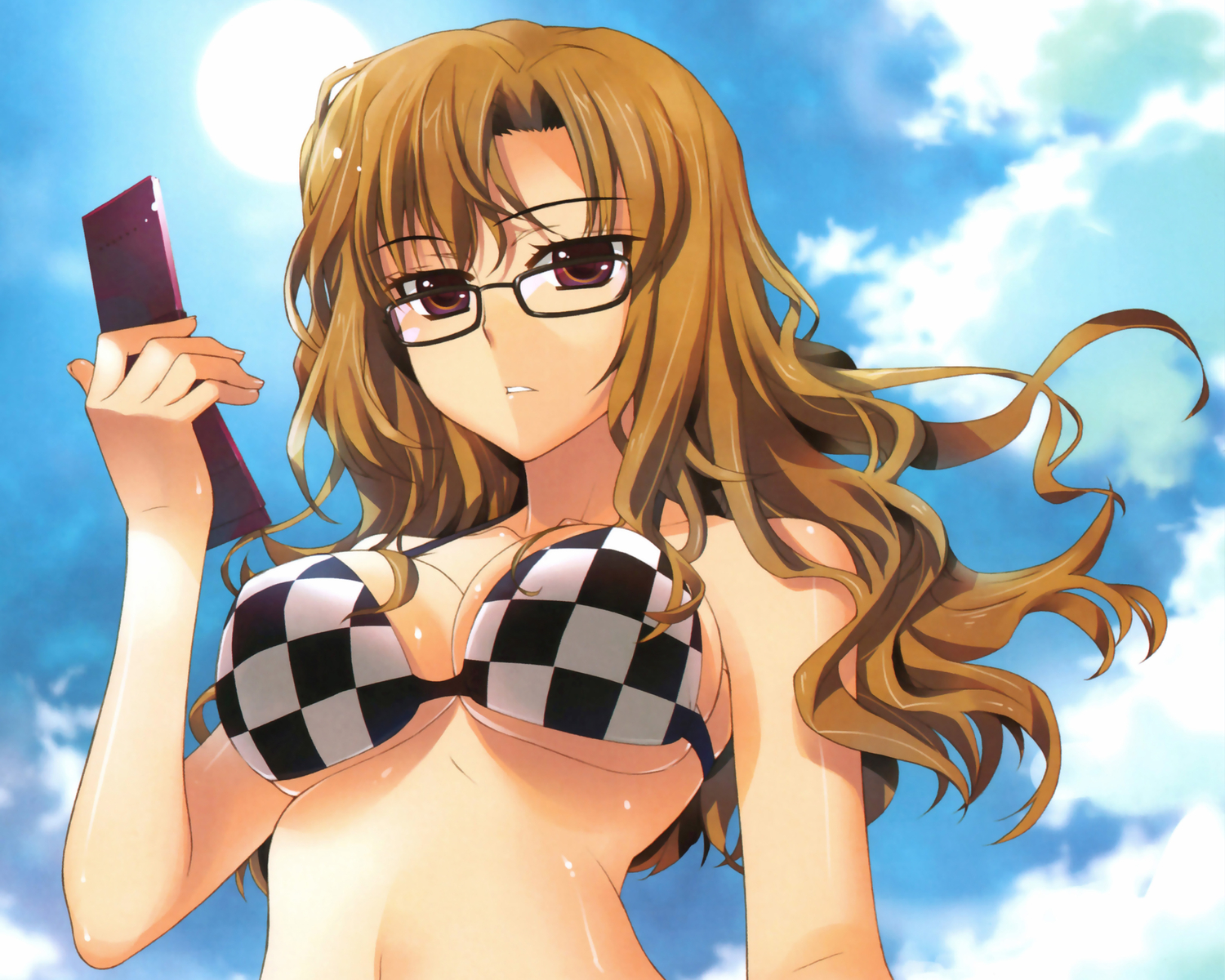 bikini_top brown_hair cleavage fujima_takuya glasses kiryuu_moeka long_hair phone sky steins;gate swimsuit underboob