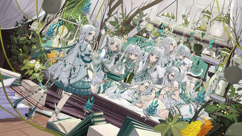 book butterfly detexted dress gray_hair green_eyes group lolita_fashion long_hair original third-party_edit touzai_(poppin_phl95)