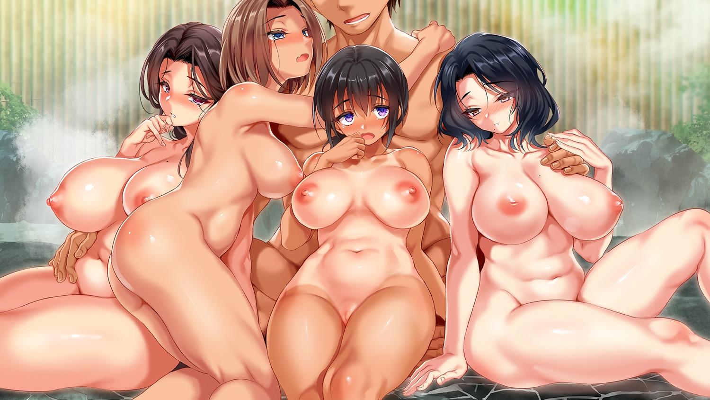 ass black_hair breasts brown_eyes brown_hair group harem hug kure_masahiro male nipples nude original ponytail pubic_hair purple_eyes pussy uncensored