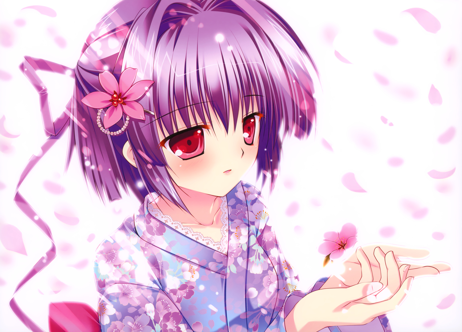 close flowers japanese_clothes mikeou original petals pink_chuchu purple_hair red_eyes