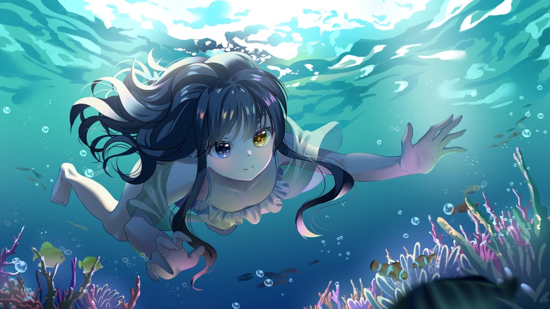 animal barefoot bicolored_eyes black_hair bubbles fish gonzz_(gon2rix) long_hair original underwater water