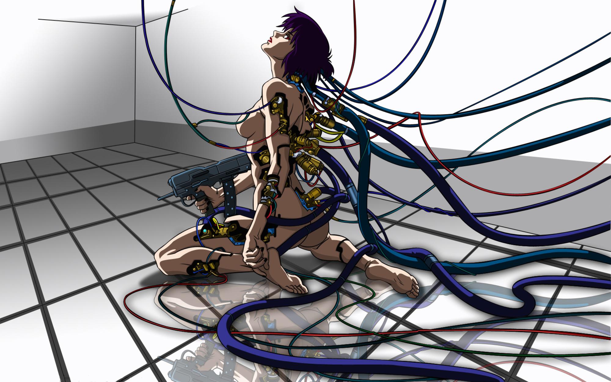 barefoot ghost_in_the_shell gun kusanagi_motoko nude purple_hair red_eyes short_hair weapon