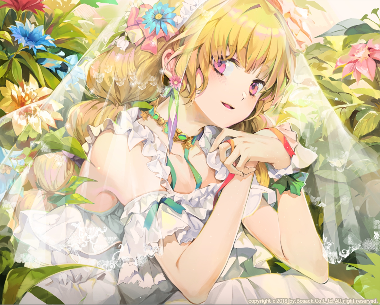 blonde_hair bosack choker dress flowers headdress long_hair original pink_eyes ribbons waifu2x watermark