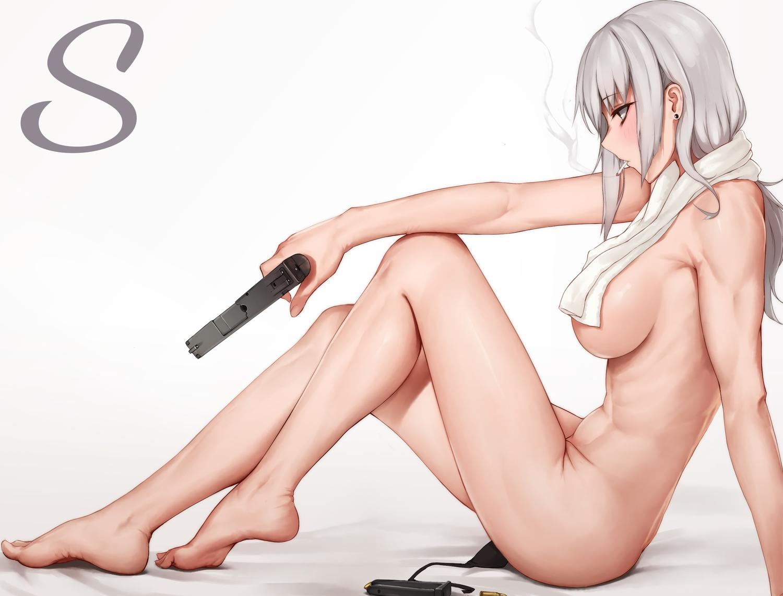 barefoot black_eyes breasts cigarette gray_hair gun long_hair nude original rosaline smoking towel weapon