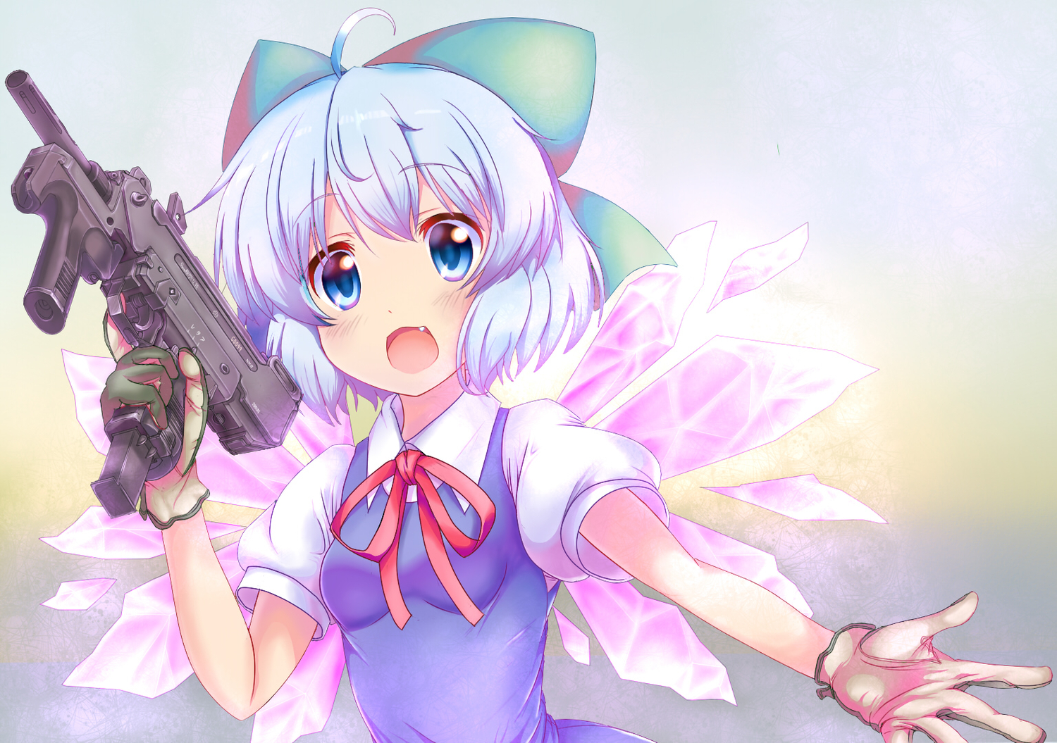 blue_eyes blue_hair cirno em_s gloves gun touhou weapon
