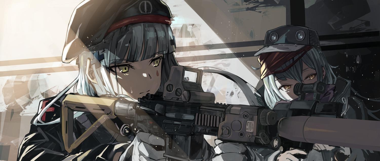 2girls anthropomorphism aqua_hair fujita_(condor) g11_(girls_frontline) girls_frontline gloves gun hat hk416_(girls_frontline) long_hair shade uniform weapon yellow_eyes
