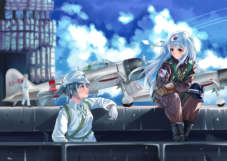 2girls aircraft anthropomorphism hat kantai_collection long_hair longmei_er_de_tuzi military shoukaku_(kancolle) zuikaku_(kancolle)