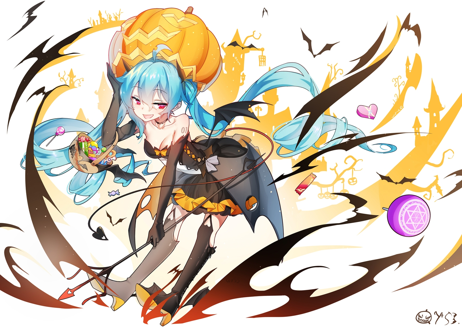 animal aqua_hair bai_yemeng bat boots bow breasts candy choker cleavage dress elbow_gloves gloves halloween hatsune_miku heart long_hair pumpkin red_eyes signed spear twintails vocaloid weapon wings