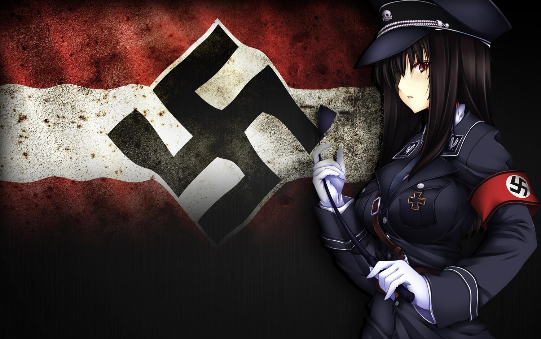black_hair gloves hat long_hair red_eyes suit third-party_edit uniform yui.h