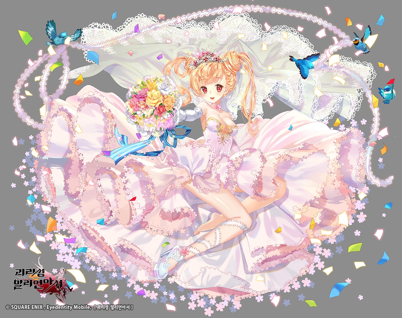 animal bird blonde_hair bow dress flowers kaku-san-sei_million_arthur mintchoco red_eyes ribbons watermark wedding_attire