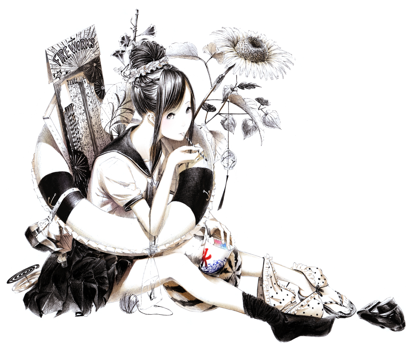 animal black_hair fish flowers food fruit monochrome original sawasawa seifuku skirt sunflower underwear watermelon