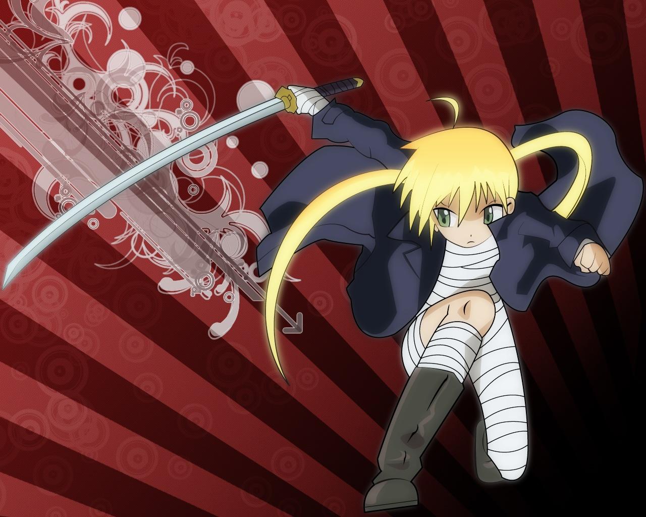 bandage hayate_no_gotoku katana loli sanzenin_nagi sword weapon