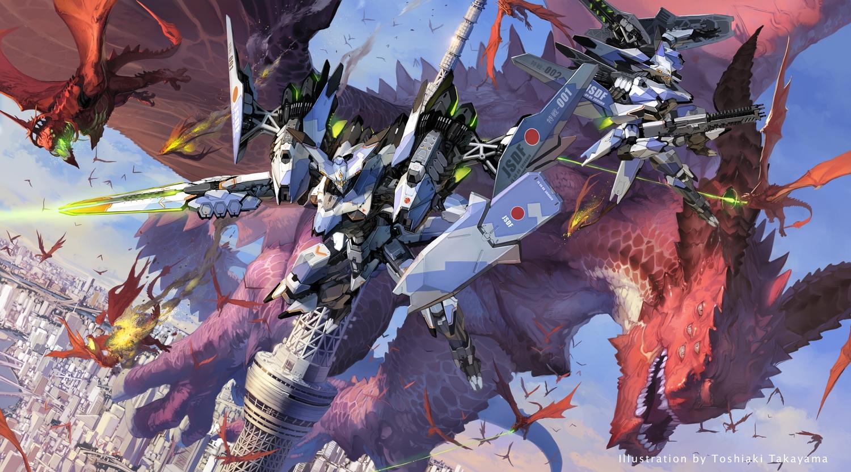 city dragon gun mecha original takayama_toshiaki weapon