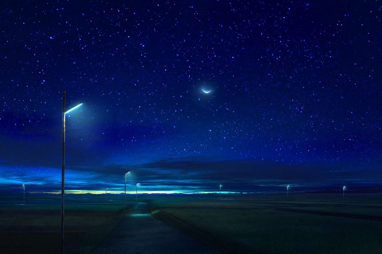 clouds landscape mks moon night nobody original scenic sky stars