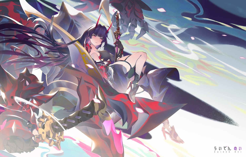 honkai_impact horns long_hair pink_eyes purple_hair raiden_mei sword tatatsu weapon