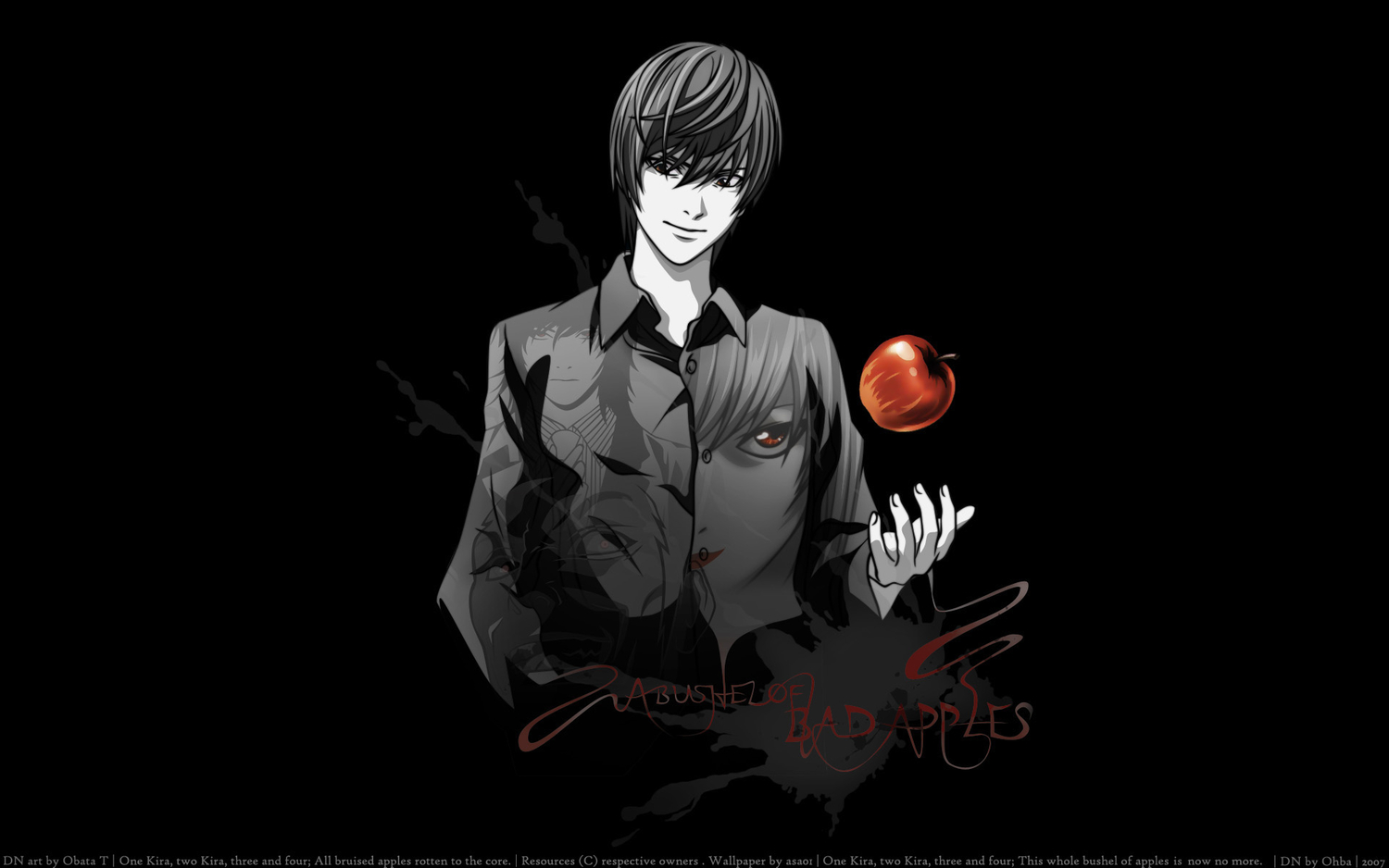 apple death_note food fruit male polychromatic red_eyes third-party_edit yagami_light