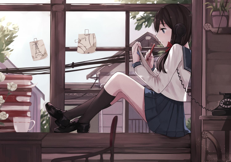 blue_eyes brown_hair drink flowers kneehighs levi9452 long_hair original paper phone rose school_uniform skirt