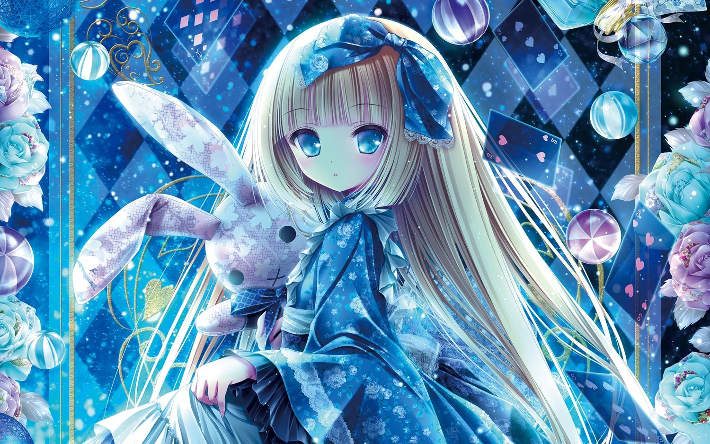 aqua_eyes ball blonde_hair bow bunny dress flowers loli lolita_fashion long_hair tinkle