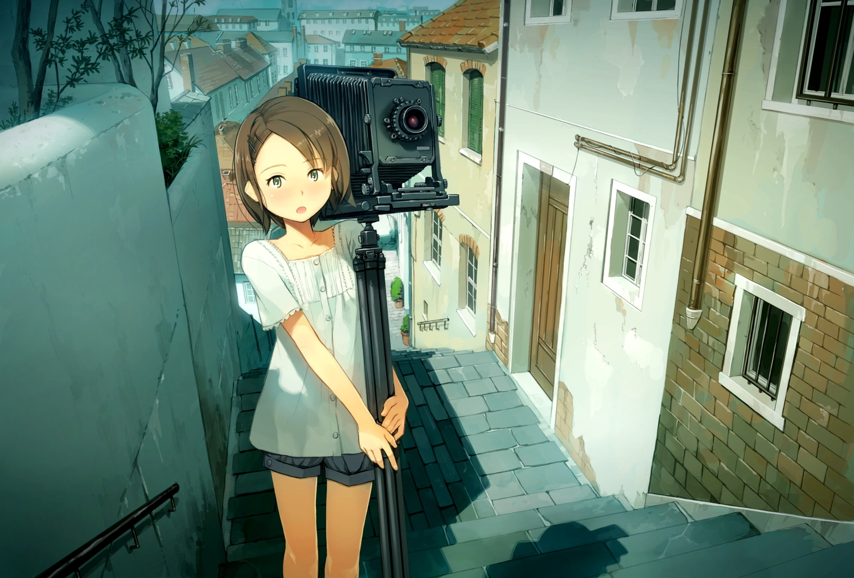 brown_eyes brown_hair building camera city original short_hair shorts stairs yoshida_seiji