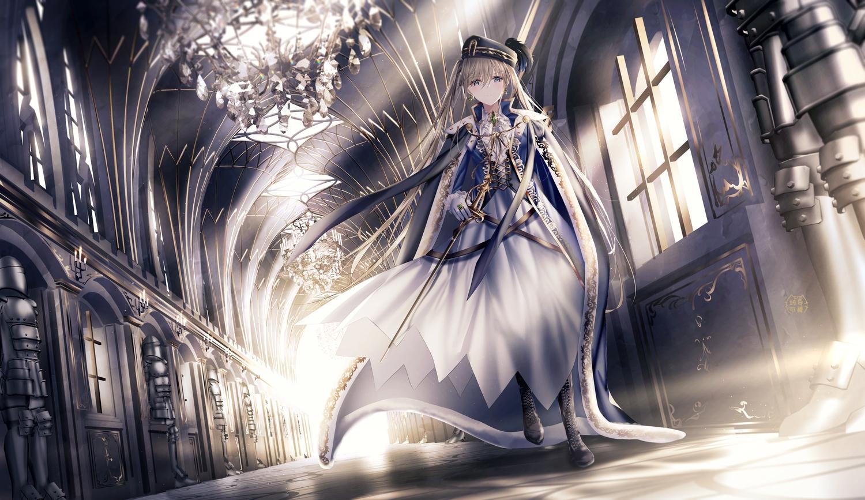 aliasing armor blue_eyes boots brown_hair cape dress feathers gloves hat junpaku_karen long_hair military original ponytail sword uniform weapon