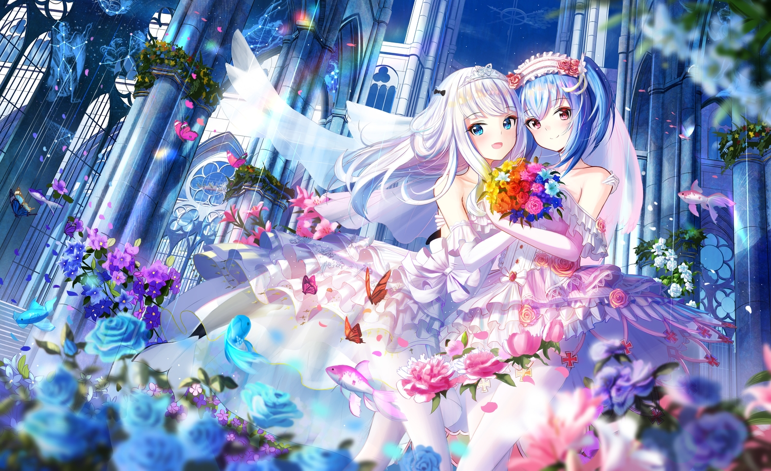 2girls animal anthropomorphism aqua_eyes aqua_hair blush building butterfly dress elbow_gloves fang fish flowers gloves headband headdress hug long_hair original prinz_eugen1938 prinz_eugen_(zhanjian_shaonu) red_eyes rose shoujo_ai stars tiara wedding wedding_attire white_hair zhanjian_shaonu