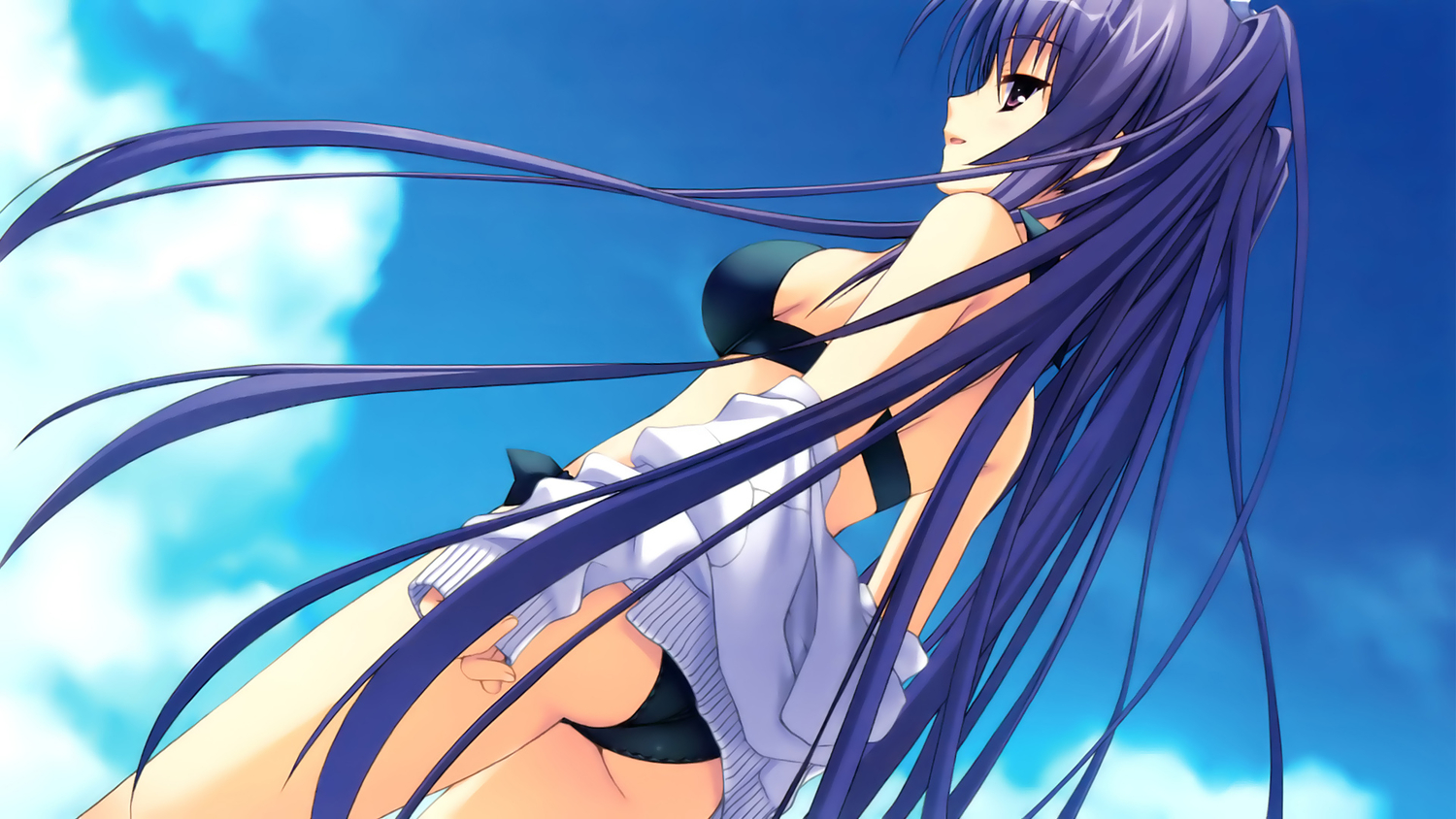 bikini game_cg itsukishishihimenomikoto kobuichi long_hair muririn purple_hair sky swimsuit tenshinranman undressing