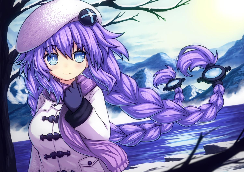aqua_eyes braids gloves hat hyperdimension_neptunia long_hair novus_rue purple_hair purple_heart scarf snow twintails winter