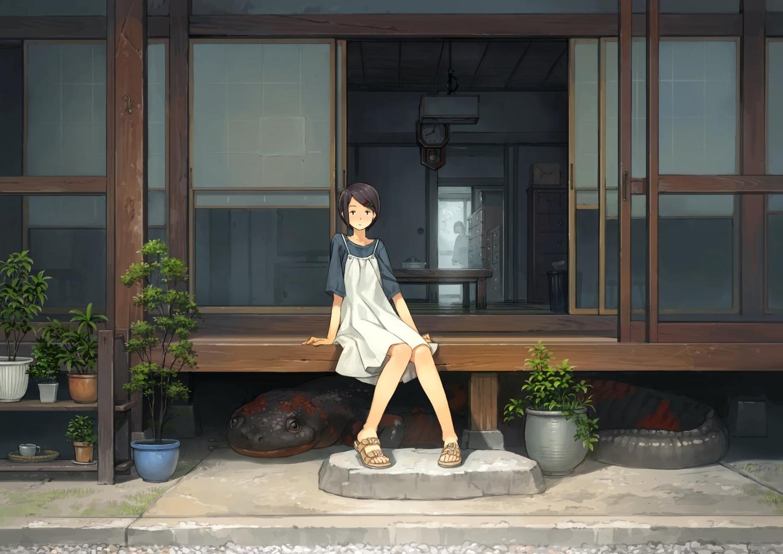 animal black_hair building dress original scenic short_hair summer summer_dress tree yoshida_seiji