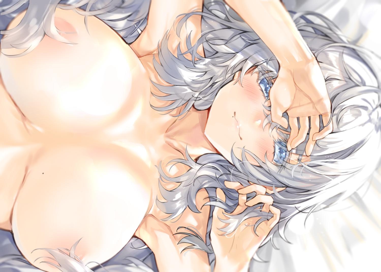 breasts close gray_hair kou_mashiro long_hair original topless