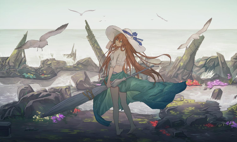 alma01 animal anthropomorphism barefoot beach bird brown_hair girls_frontline green_eyes hat long_hair scenic springfield_(girls_frontline) umbrella water