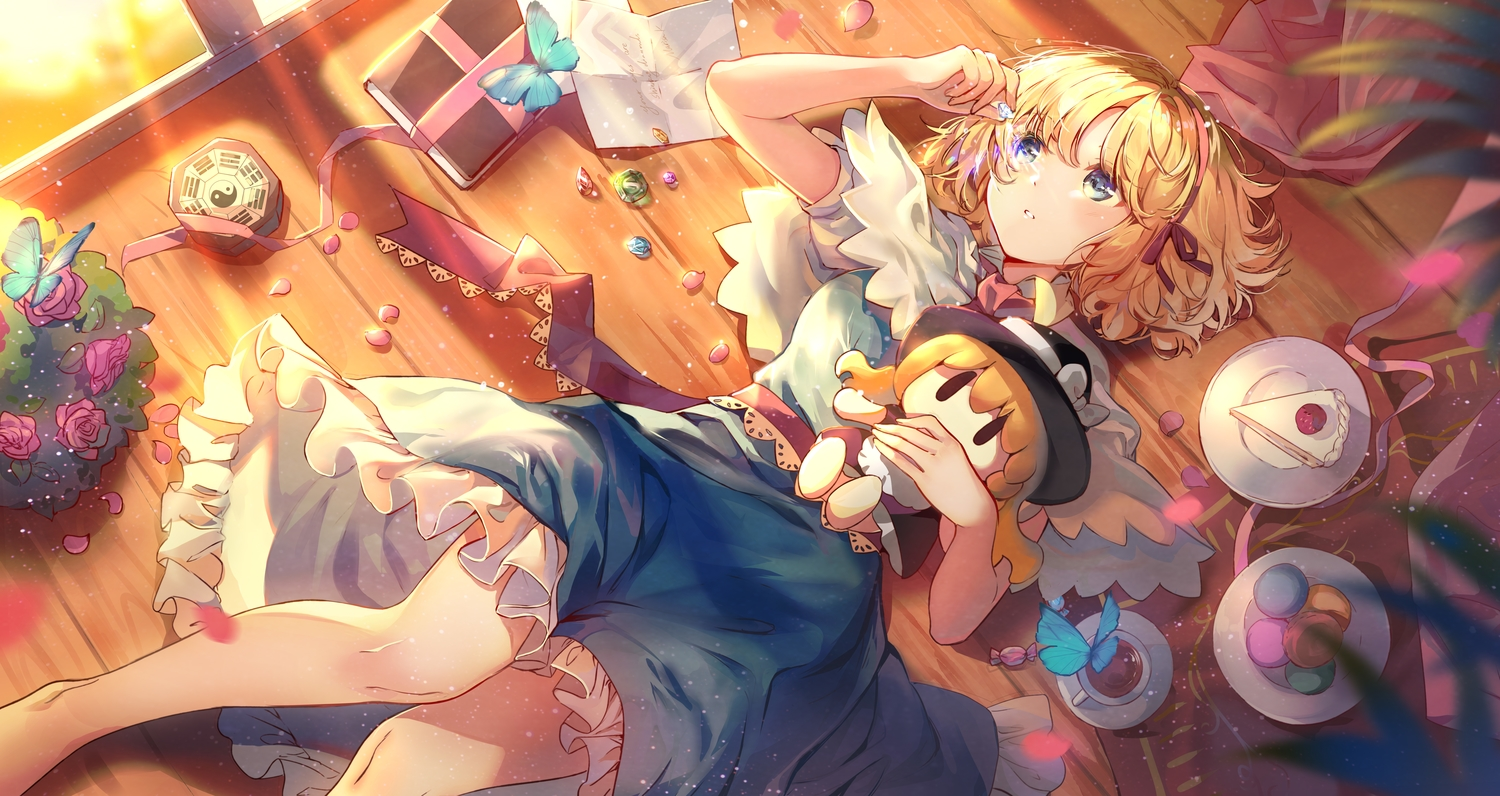 alice_margatroid blonde_hair blue_eyes book butterfly cake cape dress drink elise_(piclic) flowers food fruit headband paper ribbons rose short_hair strawberry touhou