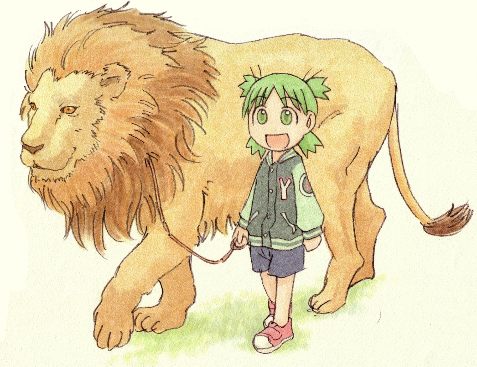 animal azuma_kiyohiko koiwai_yotsuba lion yotsubato!
