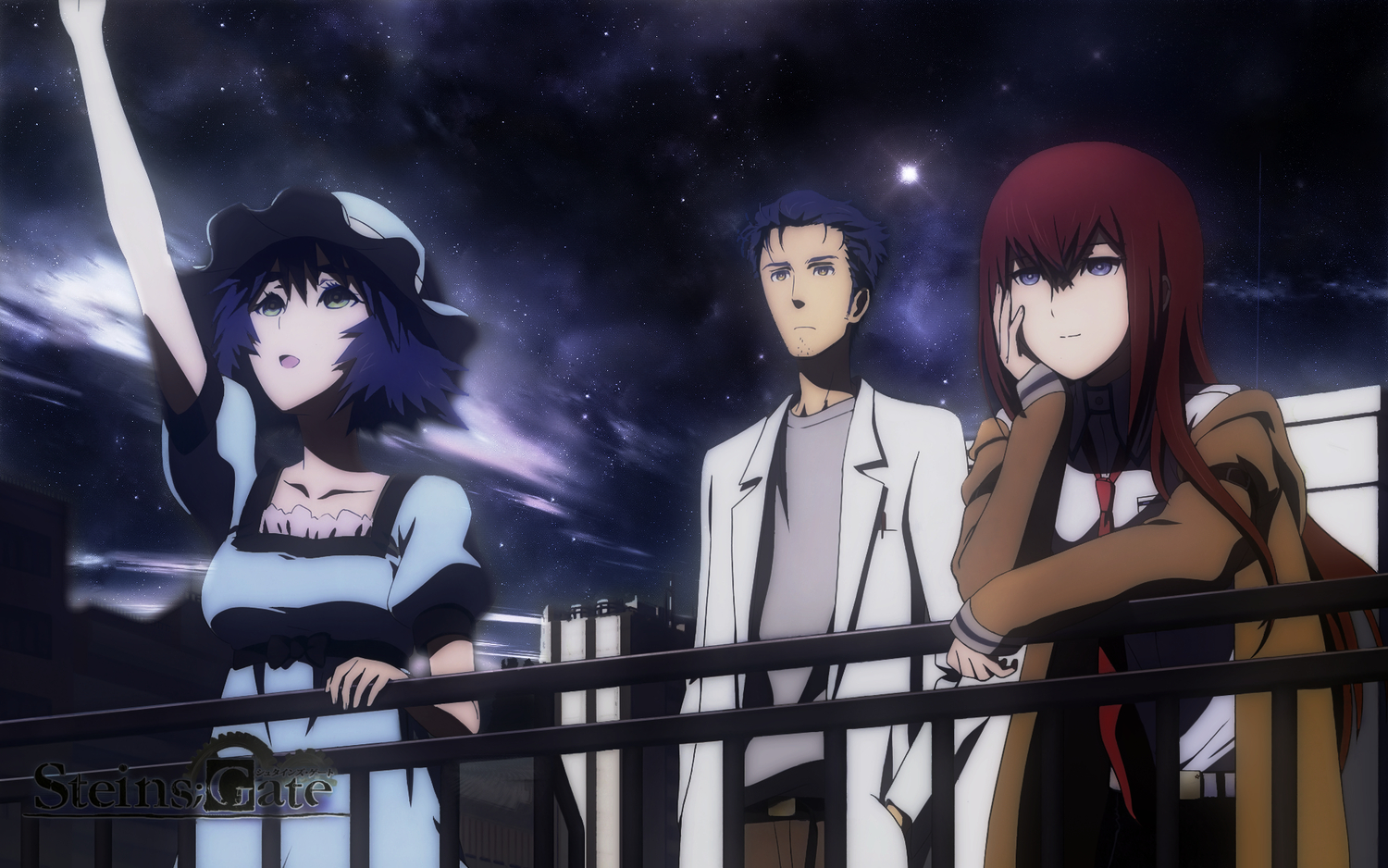 black_hair blue_eyes brown_hair long_hair makise_kurisu night okabe_rintarou photoshop shiina_mayuri short_hair sky stars steins;gate
