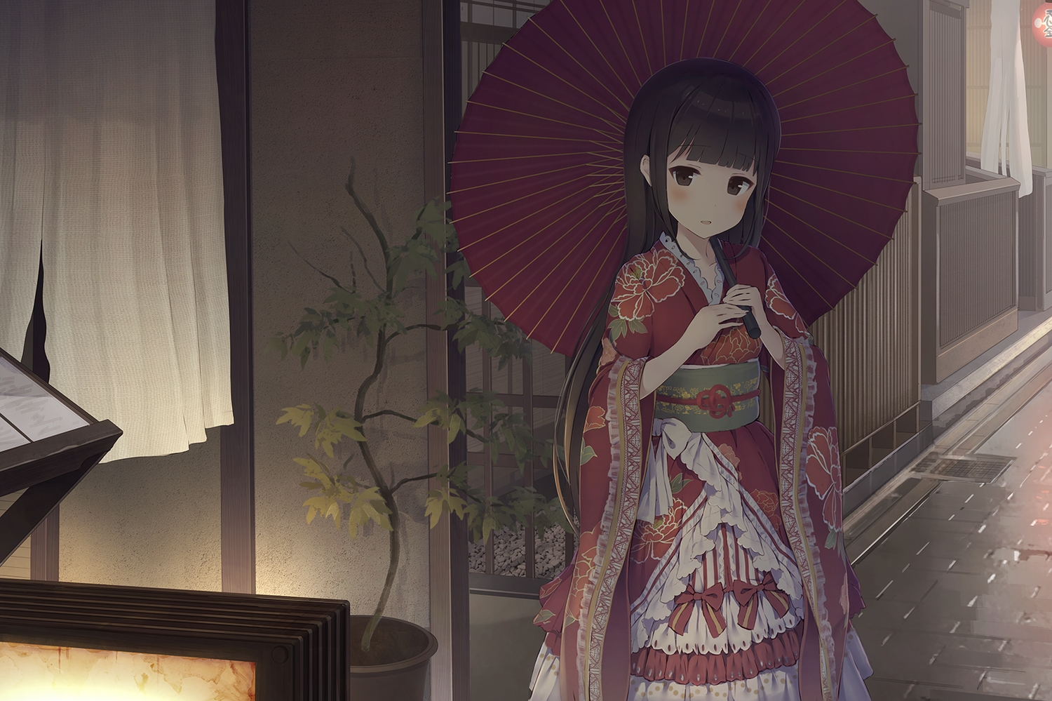 alc_(ex2_lv) black_eyes black_hair blush dress japanese_clothes kimono lolita_fashion original umbrella