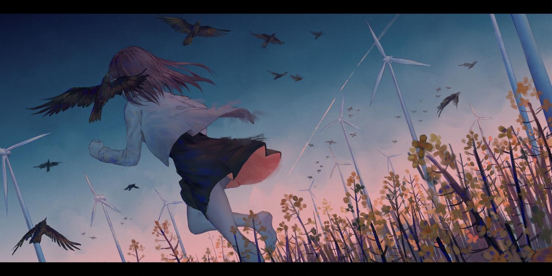animal barefoot bird brown_hair dress flowers ji_dao_ji long_hair original sky windmill
