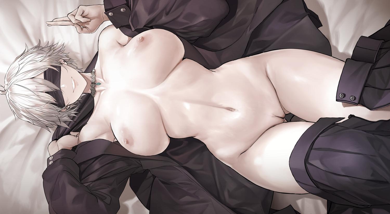 blindfold breasts choker dishwasher1910 genderswap gojou_satoru gray_hair jujutsu_kaisen navel nipples no_bra nopan open_shirt polychromatic pussy short_hair uncensored undressing