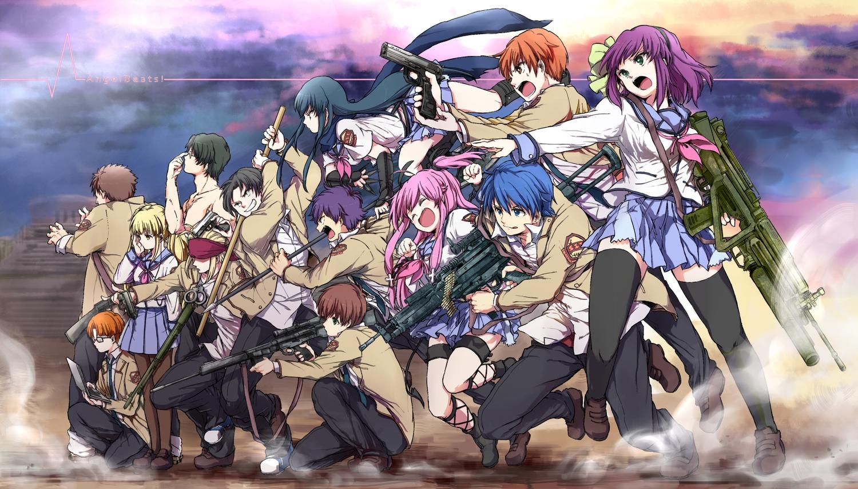 angel_beats! fujimaki group gun hinata_hideki kono_sanorou matsushita nakamura_yuri noda ooyama otonashi_yuzuru shiina takamatsu takeyama thighhighs tk weapon yui_(angel_beats!) yusa