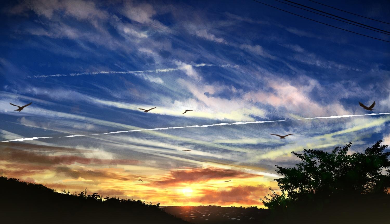 animal bird clouds gensuke original scenic sky sunset