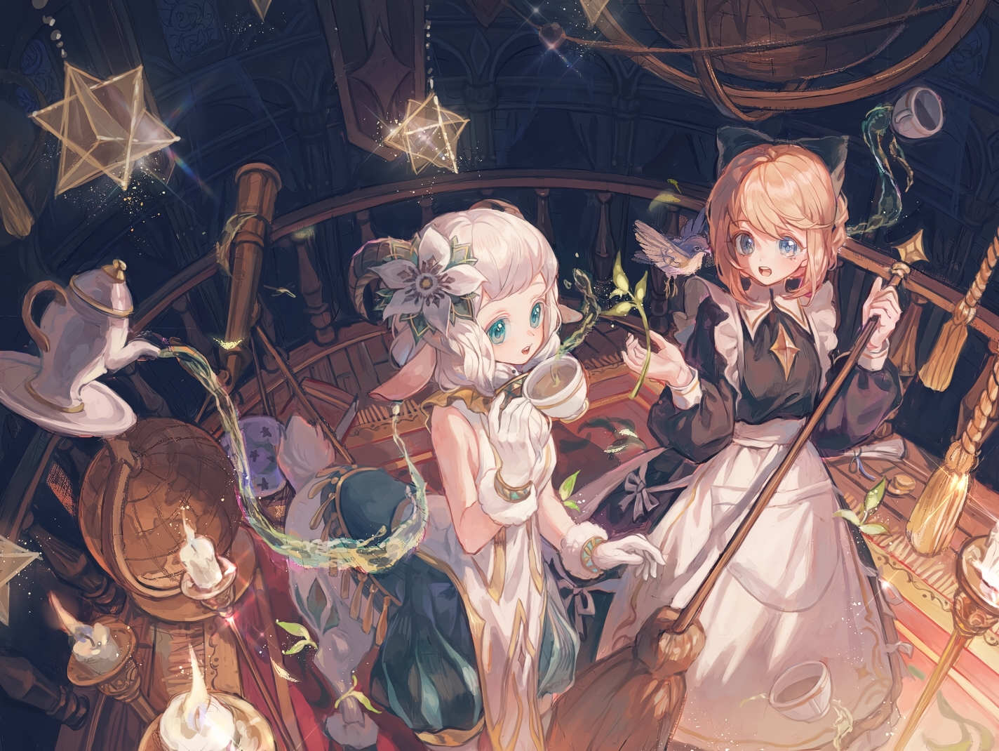 2girls afk_arena animal_ears dress drink horns maccha_(mochancc) maid nemora_(afk_arena) rosaline_(afk_arena)