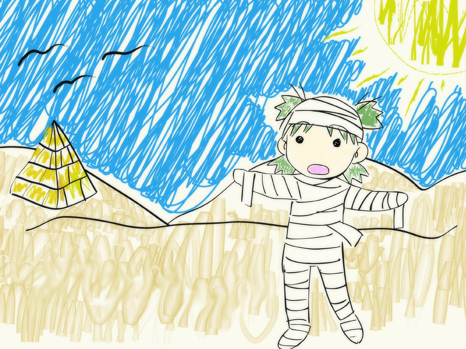 bandage desert koiwai_yotsuba polychromatic sketch yotsubato!