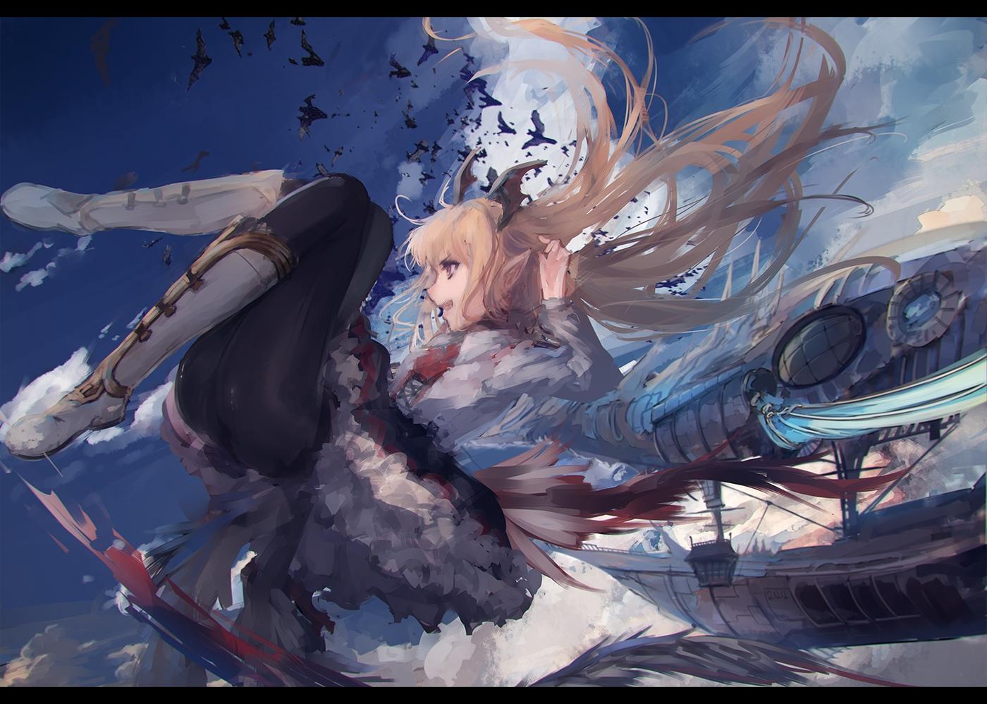 aircraft animal bat blonde_hair boots granblue_fantasy long_hair pantyhose pointed_ears rean_(r_ean) vampire vampy wings